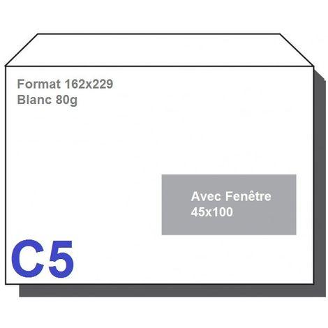 Type C5 - Format 162X229 Blanc 80g AVEC FENETRE 45X100 Lot de 1000
