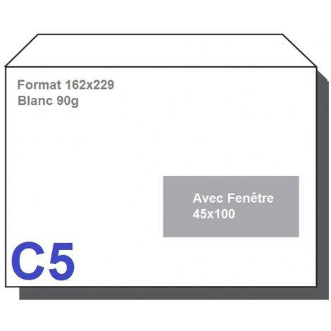 Type C5 - Format 162X229 Blanc 90g AVEC FENETRE 45X100 Lot de 1000