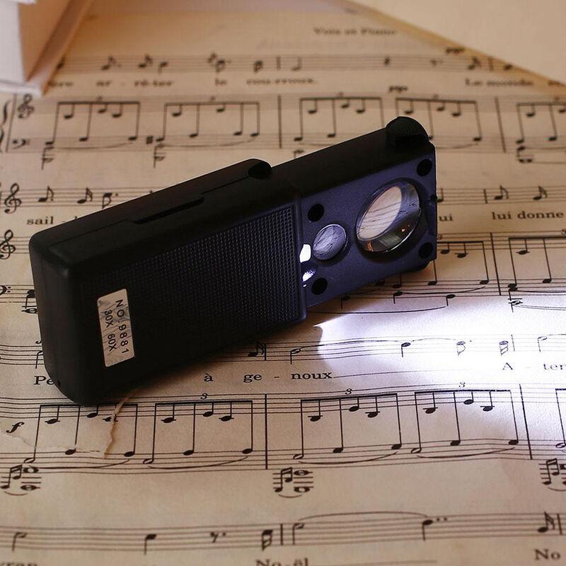 Happyshopping - Type coulissant avec lumiere LED violet clair 30 fois 60 fois loupe Detecteur d'argent Lampe Identification Bijoux Loupe