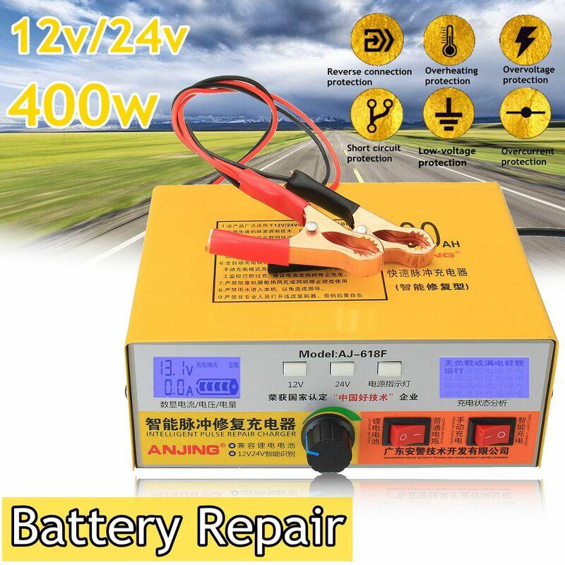 Type de réparation d'impulsion intelligente automatique 12V / 24V 400AH chargeur de batterie de voiture AJ-618-EU (prise EU)