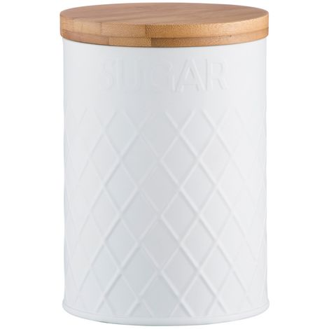 Typhoon Embossed Living Sugar Storage Canister - White