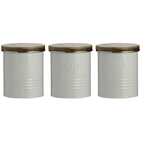 Typhoon Essentials Tea, Coffee and Sugar Set - Cream, Black or Blue - Set of 3