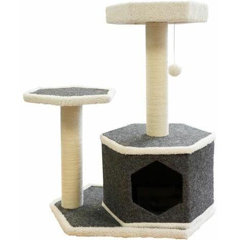 TYROL Arbre a Chat Design, 2 Etages, 2 Griffoirs Jute, Jouet, Coloris Gris et Blanc, Dim. 40x60x74,5 cm