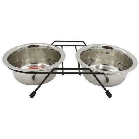 TYROL Gamelle double - Support et 2 bols inox 13 cm - 500 ml - Pour chien et chat