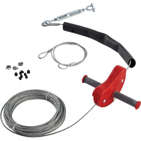 Tyrolienne enfant rouge avec cable en acier de 30m de longueur et poignées anti-dérapantes, modèle Para.