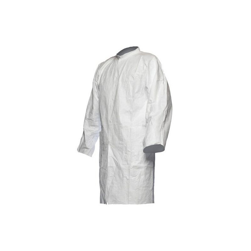 Image of Tyvek 500 White Lab Coats with Press Studs & Pockets - Large - Dupont