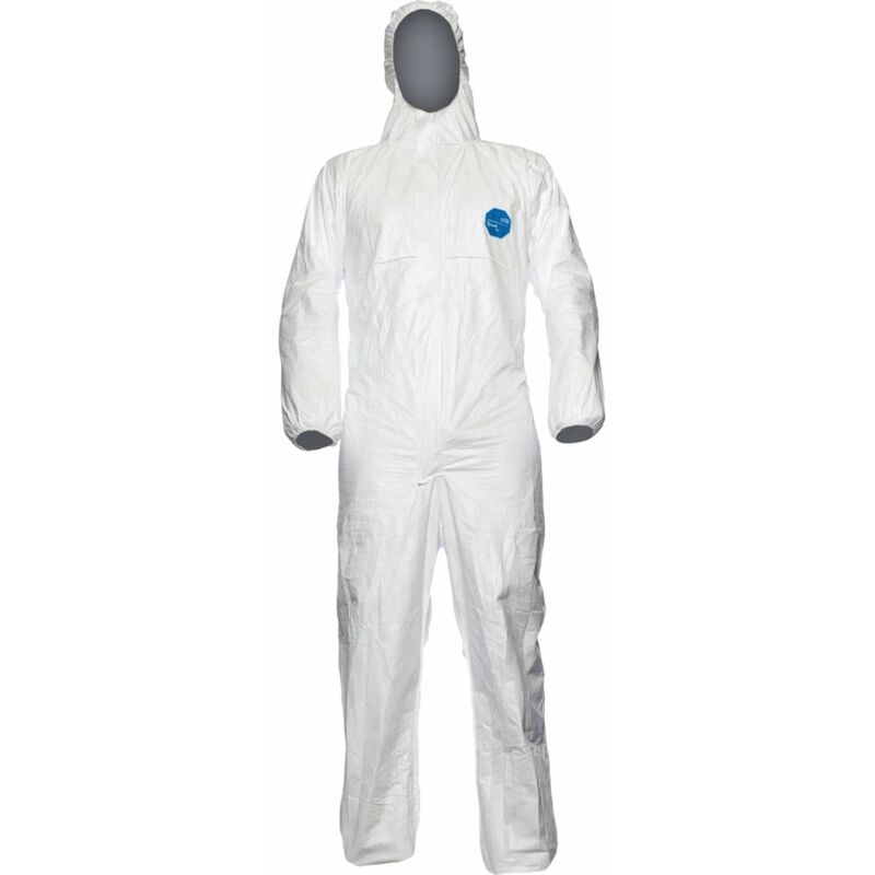 Image of Dupont Tyvek White Hooded Protective Coveralls (S)