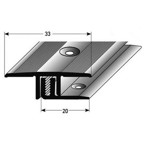 """Übergangsprofil / Übergangsschiene Laminat, """"Calgary"""" , Höhe 7 bis 15 mm, 33 mm breit, 2-teilig, Aluminium eloxiert, gebohrt"""