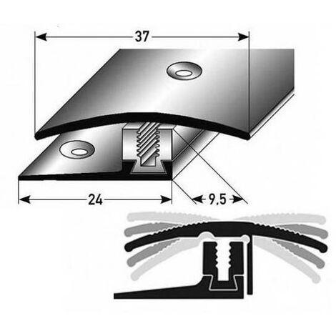 """Übergangsprofil / Übergangsschiene Laminat """"Perth"""", Höhe 7 x17 mm, 37 mm breit, 3-teilig, Edelstahl, gebohrt, Flex"""