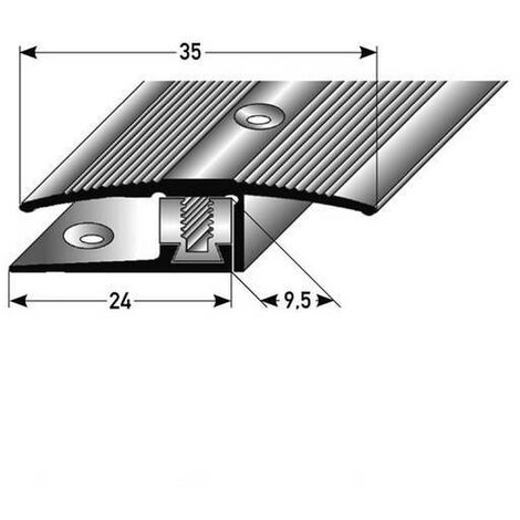 """Übergangsprofil / Übergangsschiene Laminat """"Vernon"""", Höhe 7 - 17 mm, 35 mm breit, 3-teilig, Aluminium eloxiert, gebohrt, Flex"""