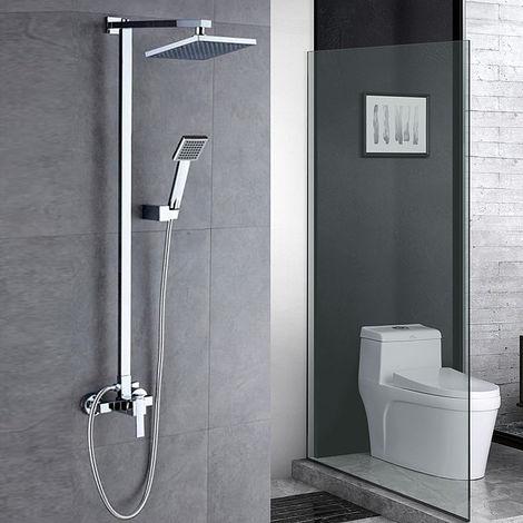 Überkopfbrause-Set | Thermostat Duschsystem |großflächige Überkopfbrause Design-Ablage | Handbrause silber