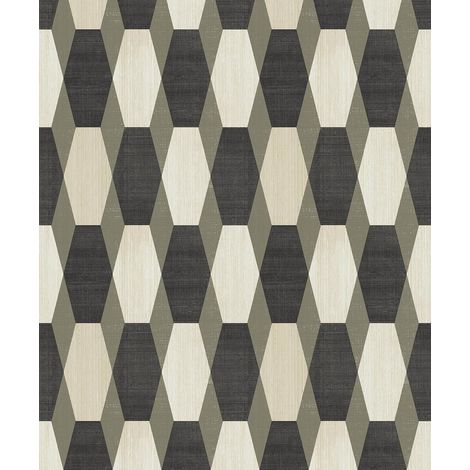 Ugepa 3D Geometric Black/ Gold Wallpaper