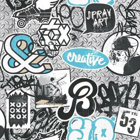 Ugepa Blue Graffiti Wallpaper