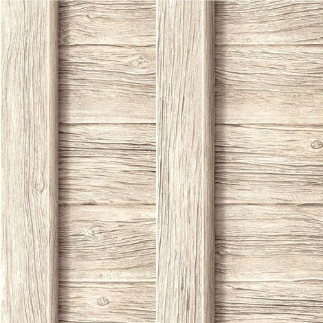 Ugepa Decorpassion Beige 3d Fence Wood Effect Blown Vinyl Wallpaper Realistic
