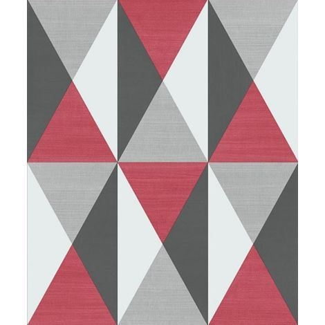 Ugepa Geometric Triangles Red Black Grey Wallpaper