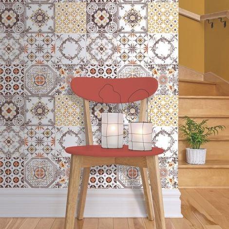 Ugepa – Carta da parati in vinile, da cucina, effetto piastrelle,  multicolore, J95605