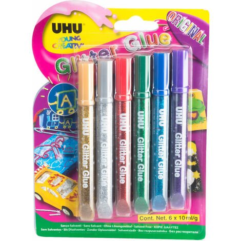 UHU 3-39017 Glitter Glue Pens - Original 6 x 10ml