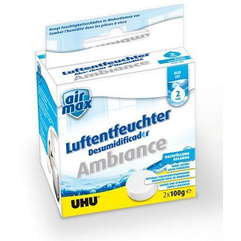 """UHU Air Max® Luftentfeuchter Ambiance Tabs """"Blue Sky"""", Nachfülltabs, 2x100g"""