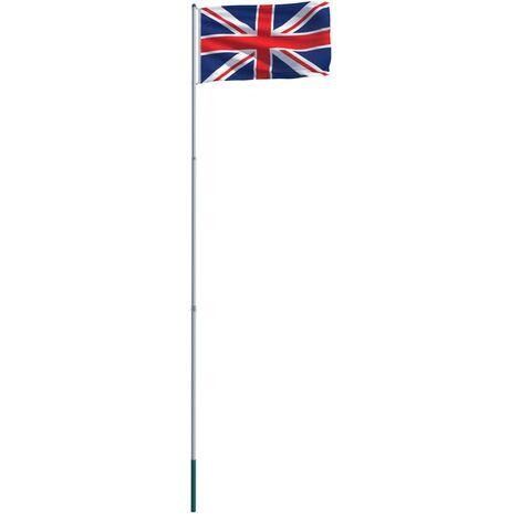 UK Flag and Pole Aluminium 6 m
