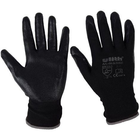ULITH Arbeitshandschuhe Nitril Schwarz Größe 10 (XL)