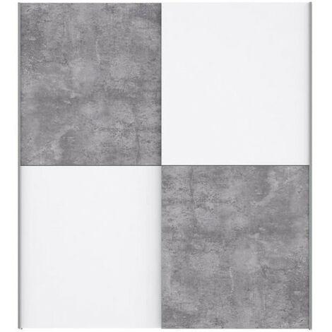 ULOS Armoire 2 portes coulissantes - Décor béton gris clair et blanc - L 170.3 cm