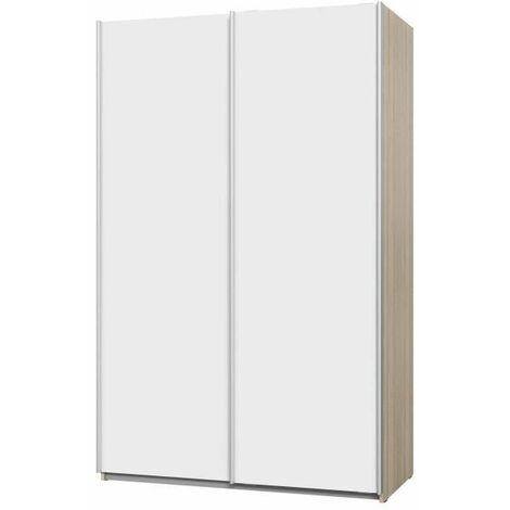 ULOS Armoire 2 portes coulissantes - Décor chene et blanc - L 120 x P 61 x H 191 cm