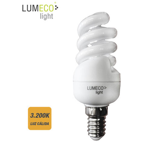 *ult. unidades* bombilla bajo consumo espiral 15w 3.200k luz calida e14 lumeco