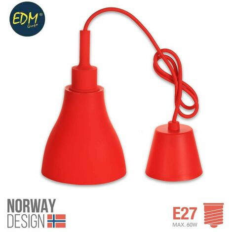 *ult. unidades* colgante de silicona norway design e27 60w rojo edm