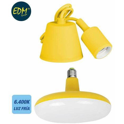 *ult. unidades* kit colgante de silicona bombilla incluida amarillo e27 24w 6.400k 1700 lumens (98,4 cm) edm