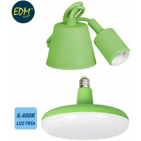 *ult. unidades* kit colgante de silicona bombilla incluida verde e27 24w 1700 lumens (98,4 cm) edm