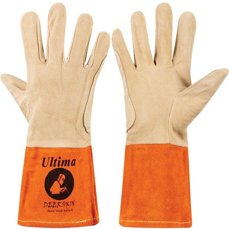 Image of Ultima Deerskin Yellow/Orange Tig Welding Gloves - Size 10 - Jayco
