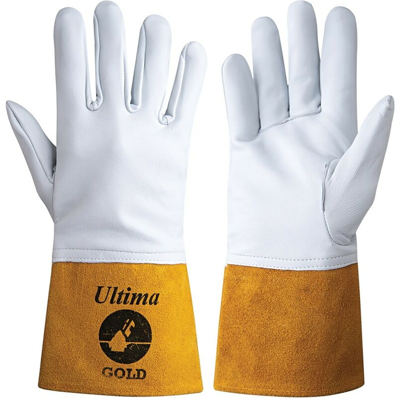 Image of Jayco Ultima Gold Tig White/Yellow Welding Gloves - Size 10