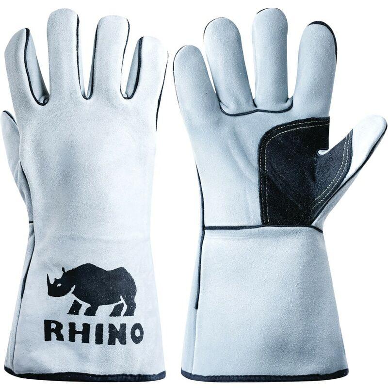 Image of Ultima Rhino Deluxe Split Leather Reinforced Grey Welding Gauntlets - Size - Jayco