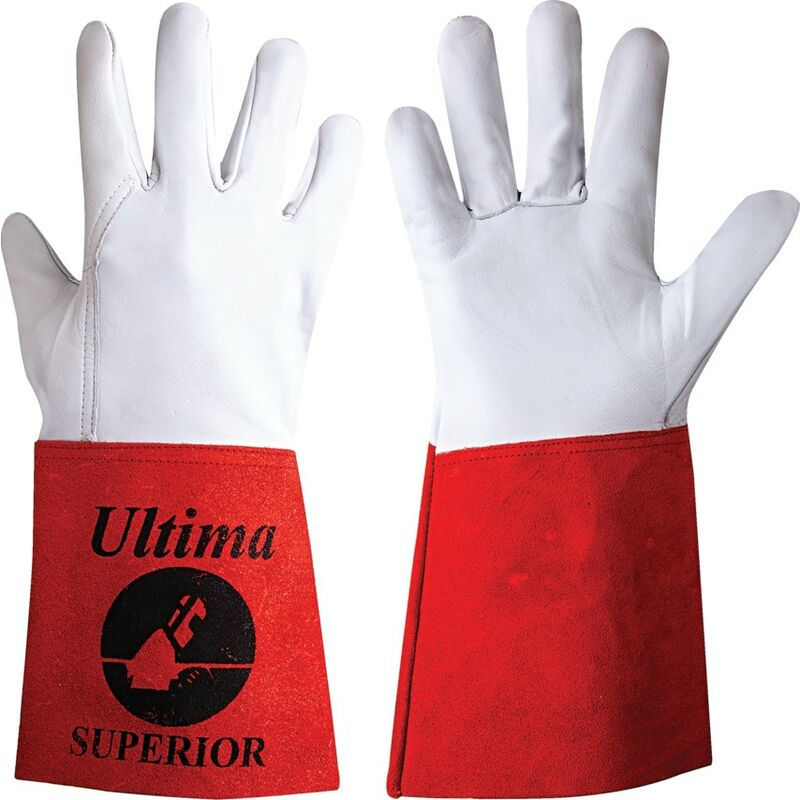 Image of Ultima Superior Tig White/Red Welding Gloves - Size 10 - Jayco