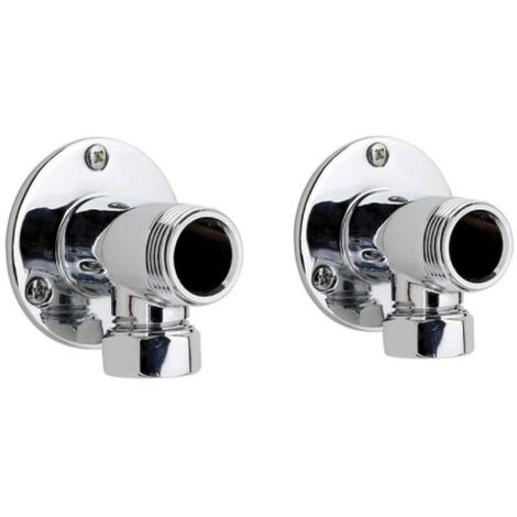 Ultra Chrome Backplate Elbow Unions - Wall Mounting Couplings (Pair)