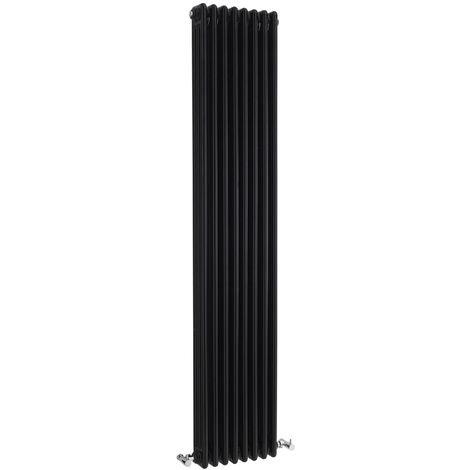 Hudson Reed Colosseum 3-Column Vertical Radiator 1800mm H x 381mm W - High Gloss Black