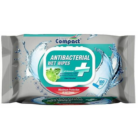 Ultra Compact Antibacterial Wipes - 100 Wipes