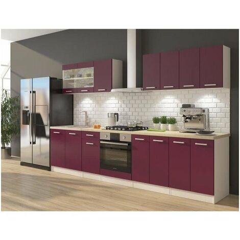 ULTRA Cuisine complete avec meuble four et plan de travail inclus L 300 cm - Aubergine mat