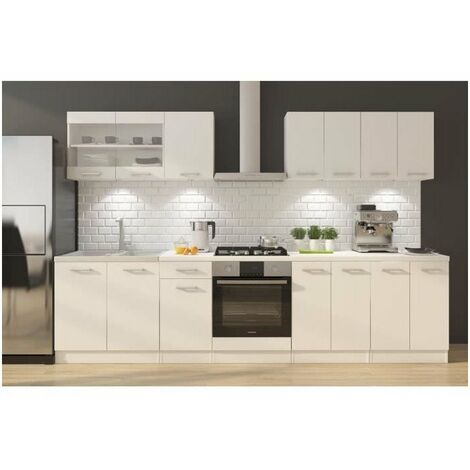 ULTRA Cuisine complete avec meuble four et plan de travail inclus L 300 cm - Blanc mat