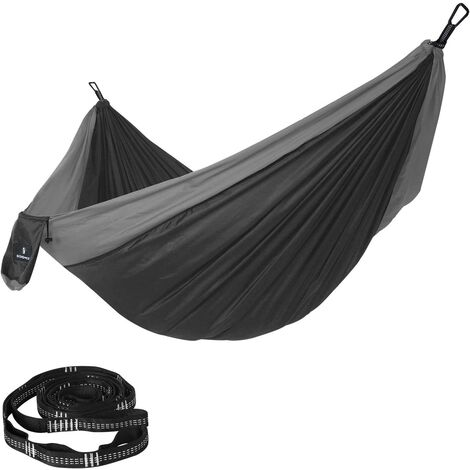 Ultra-Light Hammock, Portable Double Hammock, Ripstop Nylon, Load Capacity 300 kg, 300 x 200 cm, for Backpacking, Camping, Hiking, Yard, Garden, Black and Grey GDC20BG