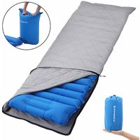 Ultra-Light Sleeping Pad, 195 x 65 x 9 cm, Inflatable Camping Mat with Built-in Pillow, Cloth Cover, Inflatable Stuff Sack, Portable Air Mattress for Travel, Camping, Hiking, Blue/Green