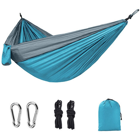Ultra-Light Travel Camping Hammock   300kg Load Capacity,(275 x 140 cm) Breathable,Quick-Drying Parachute Premium Carabiners,2 x Nylon Slings Included   for Outdoor Indoor Garden, Textile, Azure/Grey