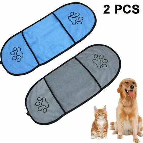 Ultra Soft Microfiber Dog Towel Pet Dog Bath Towel with Hand Pockets Durable Washable Super Absorbent Quick Dry Towel for Cats Dogs, Gray + Royal Blue