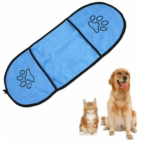 Ultra Soft Microfiber Dog Towel Pet Dog Bath Towel with Hand Pockets Durable Washable Super Absorbent Quick Dry Towel for Cats Dogs, Royal Blue