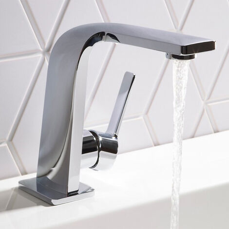 Ultra Stylish Basin Tap And Waste Chrome Deck Mounted Square Mono Faucet