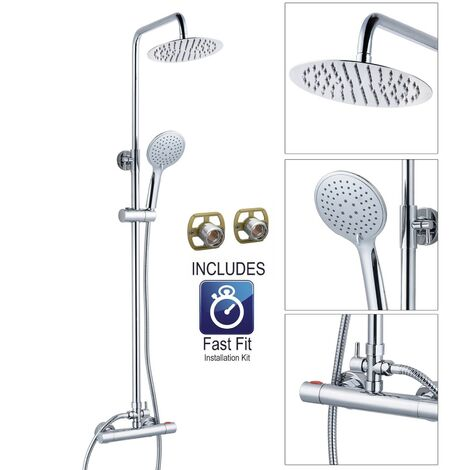 Ultra Thin Round Thermostatic Mixer Shower Dual Control Twin Head + Fast Fit Kit
