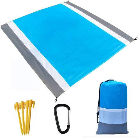 Ultraligero Resistente al agua Estera que acampa con la manta almacenamiento de la bolsa de arena de playa libre alfombra de picnic sandproof Beach Blanket, gris y azul, 4 #
