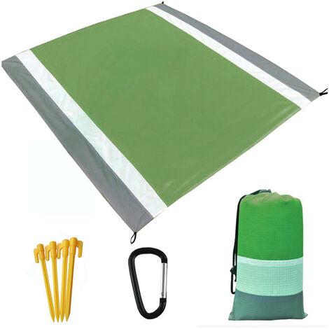 Ultraligero Resistente al agua Estera que acampa con la manta almacenamiento de la bolsa de arena de playa libre alfombra de picnic sandproof Beach Blanket, gris y verde del ejercito, 3 #