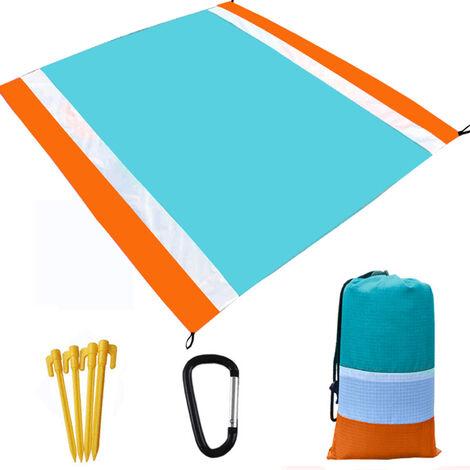 Ultraligero Resistente al agua Estera que acampa con la manta almacenamiento de la bolsa de arena de playa libre alfombra de picnic sandproof Beach Blanket, naranja y azul, 1 #