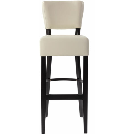 Ultran Kitchen Breakfast Bar Stool Faux Leather Padded Back And Seat Fully Assembled 3 Colours Cream